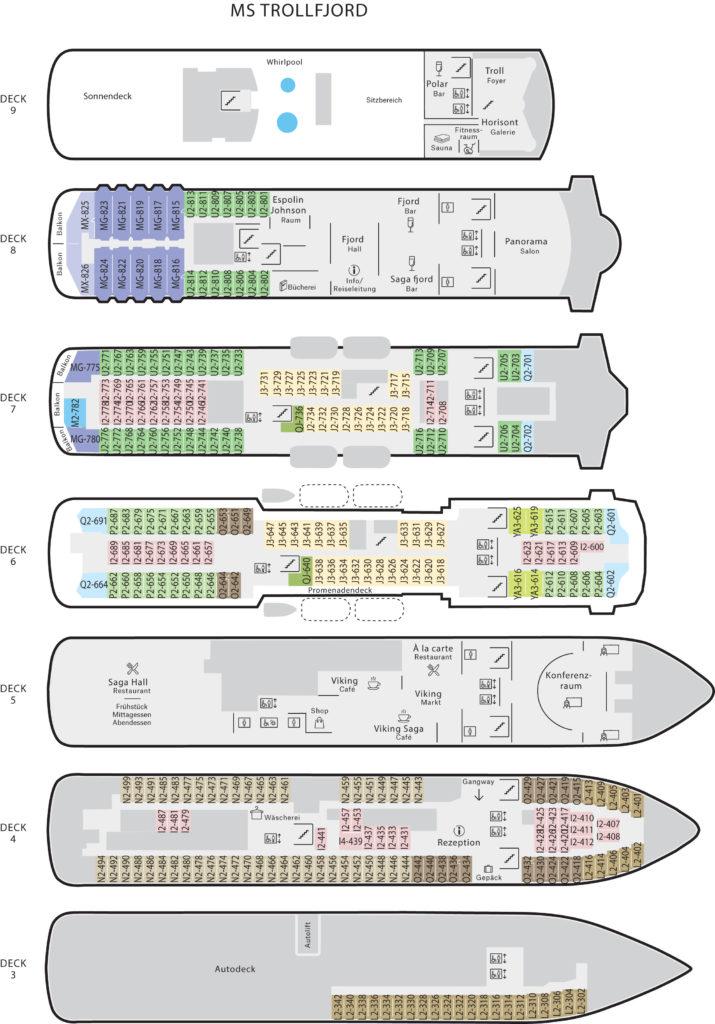 Decksplan MS Trollfjord
