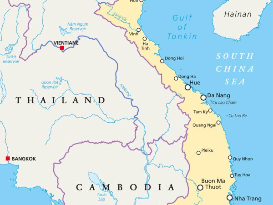 Vietnam Landkarte mit Hauptstadt Hanoi, nationale Grenzenichtige